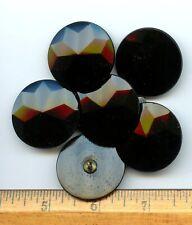 "6 FANTASTIC MATCHING BLACK GLASS buttons--SNOWFLAKE DESIGN--(LG) 1 3/8"""