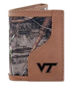 Virginia Tech Hokies Tri-fold Realtree Max-5 Camo & Leather Wallet Zep-Pro NCAA