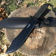 "15"" RAMBO TACTICAL Combat Survival FIXED BLADE KNIFE Machete Bowie w/ SHEATH"