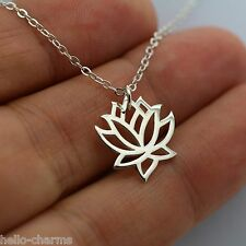LOTUS FLOWER NECKLACE - 925 Sterling Silver Namaste Charm Yoga Flower Ohm *NEW*