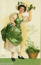 Fabric Block St Patrick's Day Irish Girl The Top of the Morning to You Vintage