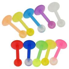 Paquete De 10 piezas de UV brillan en la oscuridad Bolas Labio Labret Tragus Oreja Piercing Joyas