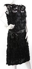 Rare EMMA WILLIS Jermyn Street London Black Silk & Lace  Bespoke Dress S-M