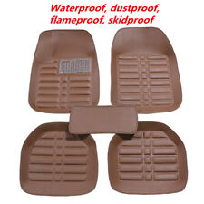 5 Pcs PU Leather Brown Car Floor Mats Waterproof Dustproof Flameproof Skidproof