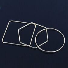 3pcs Gold Fashion Lady Geometric Square Round Rhombus Cuff Bracelet Bangle Set