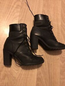 """Timberland With Ortho Lite Black ExtenAnkle Leather Boot Size 5 3"""" Heel In Crepe"""