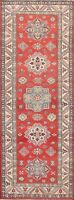 Vegetable Dye Super Kazak Geometric RED Wool Handmade Oriental Runner Rug 3'x8'