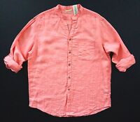 Nwt Caribbean Coral Linen & Rayon Tonal Stripe Long Sleeve Mandarin Collar Shirt