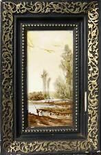 Tableau sur céramique Paysage animé en bord d'étang - XIX° siècle