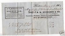 WELLFLEET MA, BOSTON MA 1864 Billhead Dealer in FEATHER BEDS LOOKING GLASSES