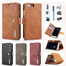 For Huawei Phone Magnetic Slim Flip Stand Card Wallet Case Cover Genuine Leather