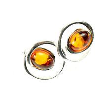 SilverAmber Jewellery Earings GL053 925 Sterling Silver Cognac Amber Stones