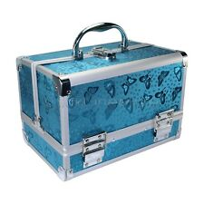 Aluminum Sky Blue Butterfly Beauty Box Cosmetic Makeup Jewelry Saloon Case