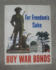 original WWII poster  For Freedom's Sake War Bonds Colonial w rifle Statue