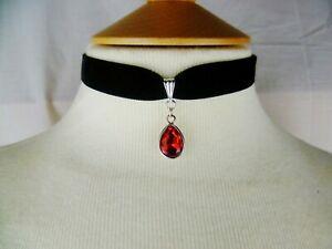Black Velvet and Red Teardrop Choker, Pick your neck size