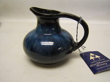 "Blue Mountain Pottery Pitcher w/ Handle 4.25"" tall Cobalt Blue w/Tag EUC"