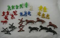 Vintage 32 Plastic Cowboy & Indians Horses Animals Native American Hong Kong LOT