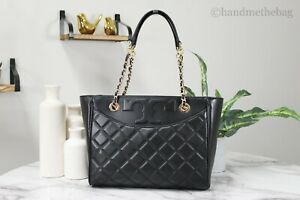 Tory Burch 64216 Savannah Black Small Smooth Quilted Leather Flat Tote Handbag