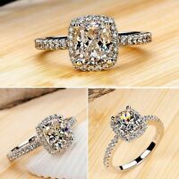 Women Exquisite White Sapphire 925 Sterling Silver Ring Rings Band CZ J L N P