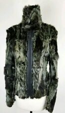 Womens Green Black Fur Rabbit Leather Coat Jacket Zip Up Italy Size Small Modern