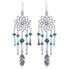 Handmade earrings 925 sterling silver Lotus Flower with Turquoise beads tribal