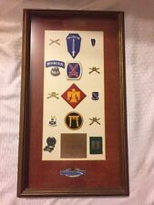 Lot- US Infantry Military Insignia Pinback U.S. Badge Pin Metal in Wooden Frame