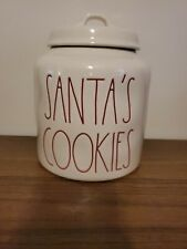 Rae Dunn SANTA'S COOKIES Christmas Canister With Red Letters LL