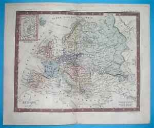 1855 original map EUROPE POLAND RUSSIA GREECE FRANCE SPAIN SKANDINAVIA BALKANS