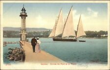Geneve Switz Lighthouse & Sailing Ship PHARE c1910 Postcard