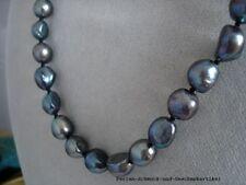 Barocke Perlenkette 44cm Echte Perlen 10mm in Tahiti-Schwarz, geknotet,  Magnet.