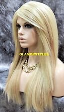 "29"" Long Layered Bleach Blonde Mix Full Lace Front Wig Heat Ok Hair piece NWT"