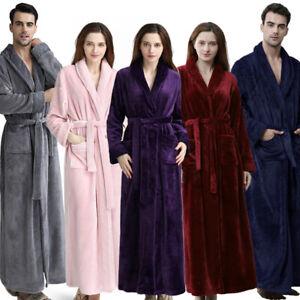 Ladies/Mens Fleece Long Dressing Gown HOT Unisex Bath Robe Soft Flannel Bathrobe