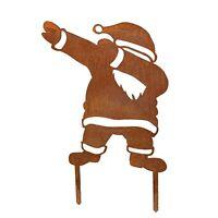 Weihnachtsmann (dabbend) Gartenstecker Edelrost