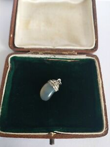 Beautiful and unusual Victorian moss agate Kidney bean? charm