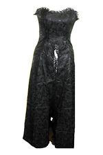 Ladies Black Gothic Steampunk Victorian Romantic Phaze Brocade Dress Size 12