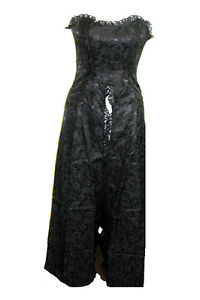 Ladies Black Gothic Steampunk Victorian Romantic Phaze Brocade Dress Size 8