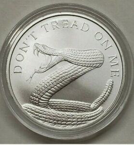 1oz 2021 Silver Shield BU Don't Tread On Me Snake Silver Round Coin