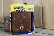 Mens brown Revelation Hardware Leather bi fold  Wallet snap closure NEW