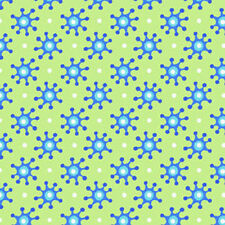 In The Beginning HOOPLA Fabric - Lime Retro Atomic Starburst Polka Dot Fabric