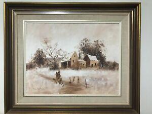 Original oil painting vintage landscape, framed & signed 62 cm x 51cm