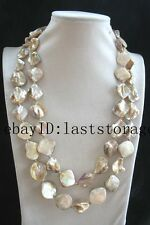 shell pearl champagne flat baroque necklace 48inch nature wholesale beads gift