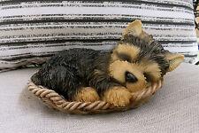 YORKSHIRE TERRIER IN WICKER BASKET Figurine Decoration Gift Resin 7 in.New