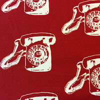 MD324 Telephone Retro Vintage Tech Phone 50's Red & White Cotton Quilt Fabric
