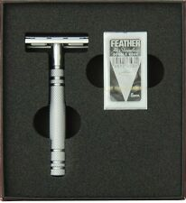 AS D2 Feather All Stainless Razor + 5 black Feather De Blades - Made in Japan