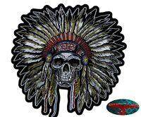 INDIAN HEAD Patch Aufnäher Aufbügler Biker Motorrad Rocker Chopper Harley USA V2