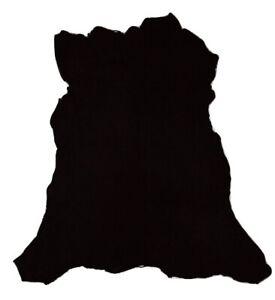 Ultra Premium Jet Black Suede Goatskin Leather Hide Plush 2 oz Soft Goat Skin