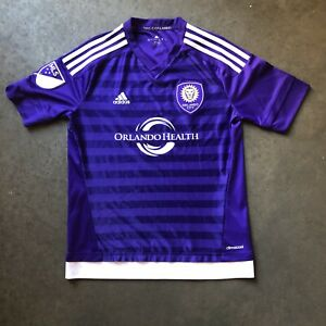 Adidas Climacool Orlando City SC MLS Home Purple White Jersey Kit Sz Youth L EUC