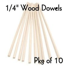 "WOOD DOWELS ~ 1/4"" Diameter x 12"" Long  { Lot of 10 } ~ by  PLD"
