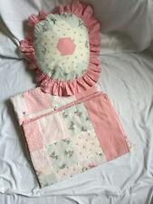 More details for vintage set of 2 patchwork pink duvet covers single & decorative cushion