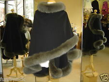 Black Cashmere Cape With Olive Fox Fur Trim Beautifully Canadian Label